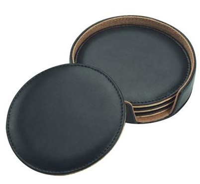 Bonded Leather Coaster Set