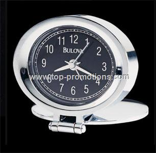 Travel clock with metal case