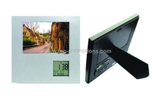 Rotating photo frame with calendar and thermometer
