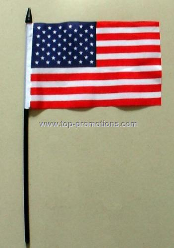 Hand held flag with pole