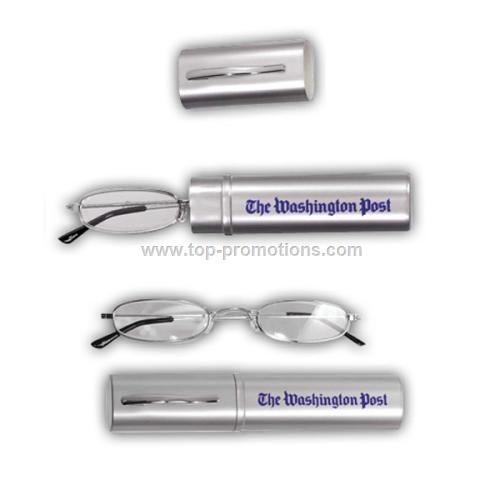 Reading glasses in silver plastic carrying case wi