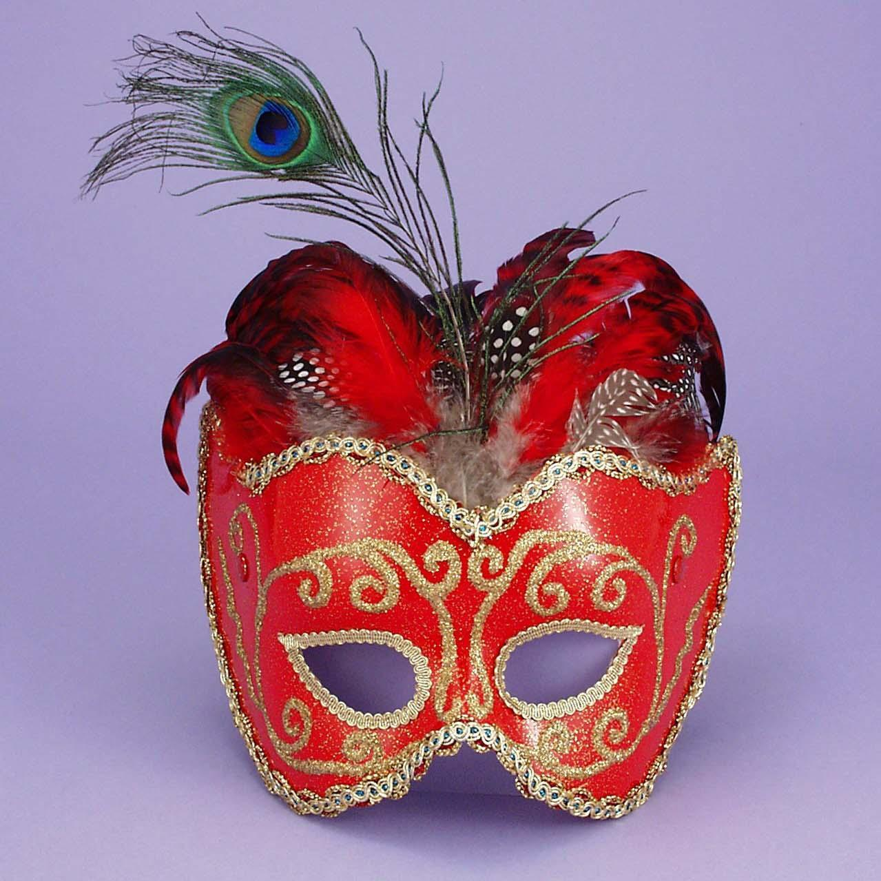 Mardi Gras Mask W/ Feather