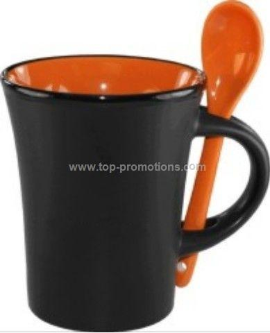 9.5 Oz. Hilo Ceramic Coffee Mug W/Spoon
