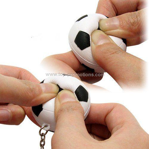 Football squeezie ball keychain