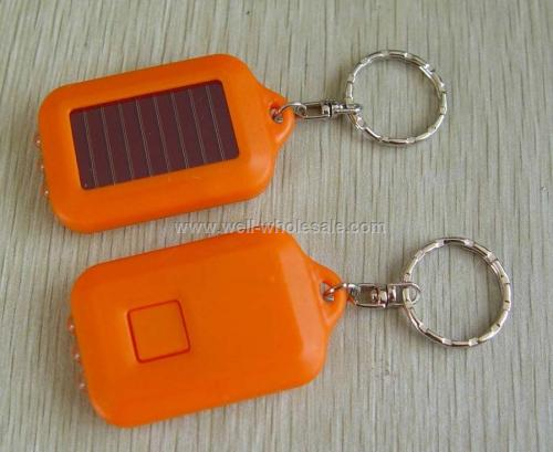 Solar LED Flashlight Keychain