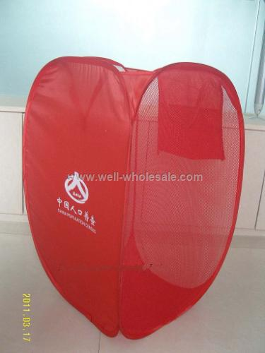 Red polyester folding laundry basket