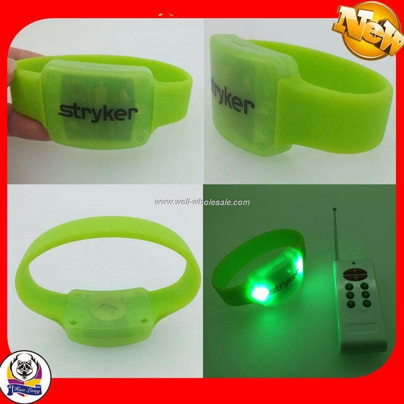 cheapest remote control led wristband,sound actived light up wristband