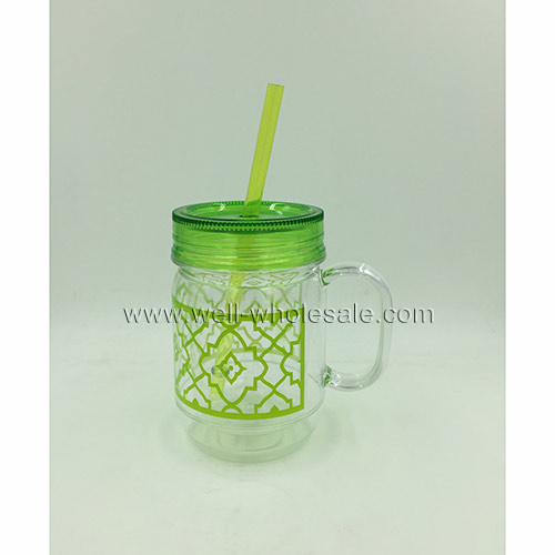 20 oz double plastic acrylic mason jar with lids and handle