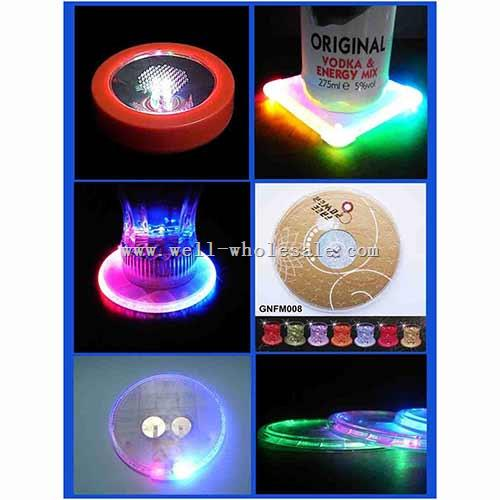 Flashing Drink Coasters Glowing LED Light Cup Coaster LED Light Drink Bottle Coaster