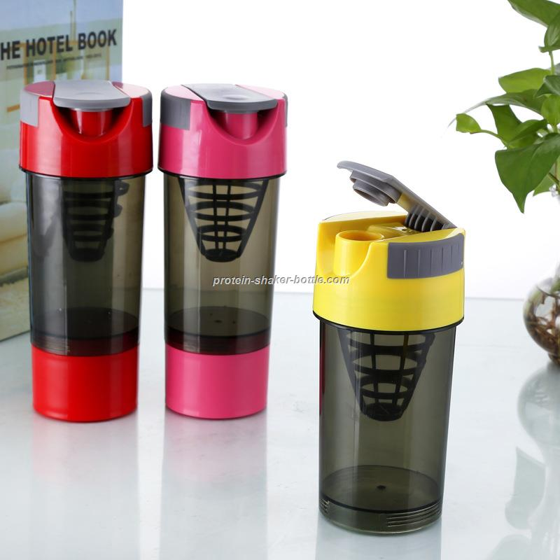 3 in 1 Protein Cup Sports Water Bottle Pink 600ml Protein Shaker