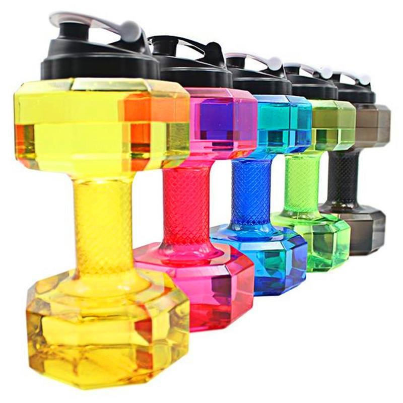 Eco-friendly Sports Fitness Exercise Water Jug 2.2L Dumbbell Shape Water Bottle